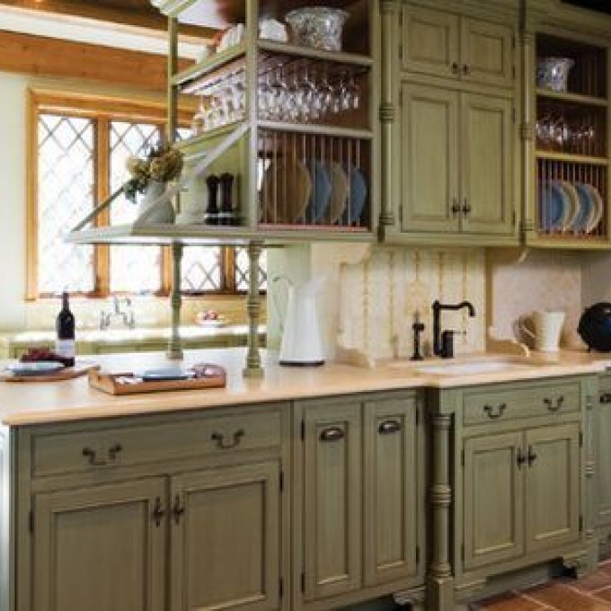 Unexpected Pop Of Color Kitchen Cabinets Sage Green Sage Green Distressed Kitchen Cabin Green Kitchen Cabinets Distressed Kitchen Cabinets Distressed Kitchen