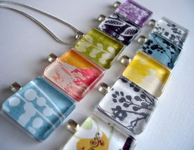 Im so making these.... I have so much scrap book paper!!! Pretty Lil' Posies: Glass Tile Pendants