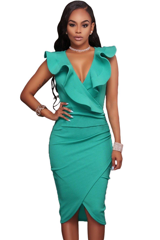 Ruffle V Neck Bodycon Midi Dress Simple Craze In 2020 Midi Dress Party Sleeveless Dress Summer Midi Dress Bodycon [ 1500 x 1001 Pixel ]