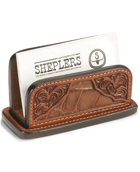 Floral Leather Business Card Holder Sheplers Leather Business Card Holder Leather Business Cards Leather Workshop