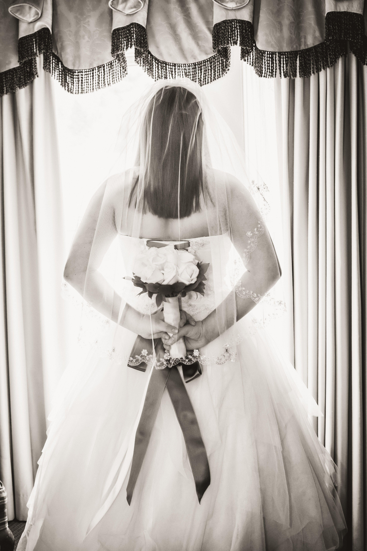 Wedding Photography, Bride, Wedding Dress, Veil, Wedding Flowers, Sepia