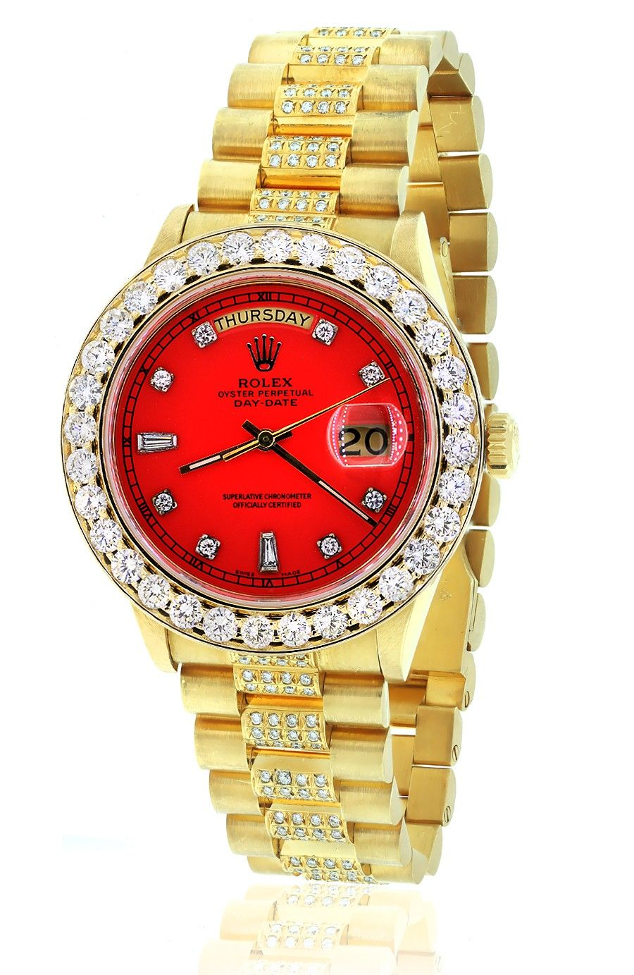 Diamond Presidential Rolex 18038 Single Quickset Red Dial 18k Yellow