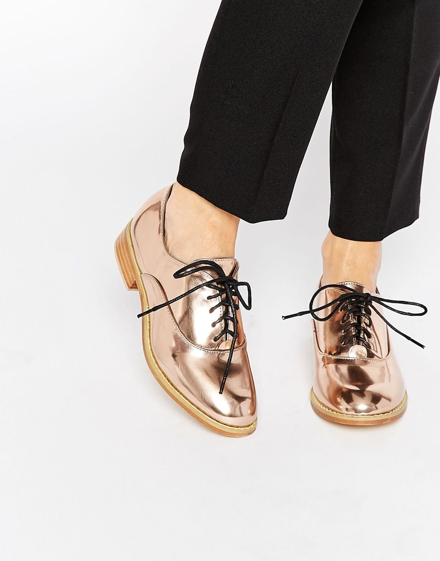 Buy Women Shoes / Lost Ink Rose Gold Lace Up Flat Shoes