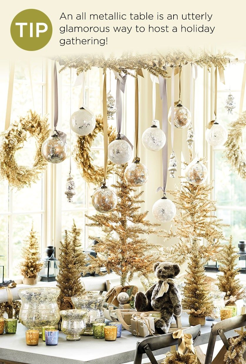 10 Holiday Decorating Ideas Gold Christmas Decorations Christmas Table Decorations Christmas Decor Trends