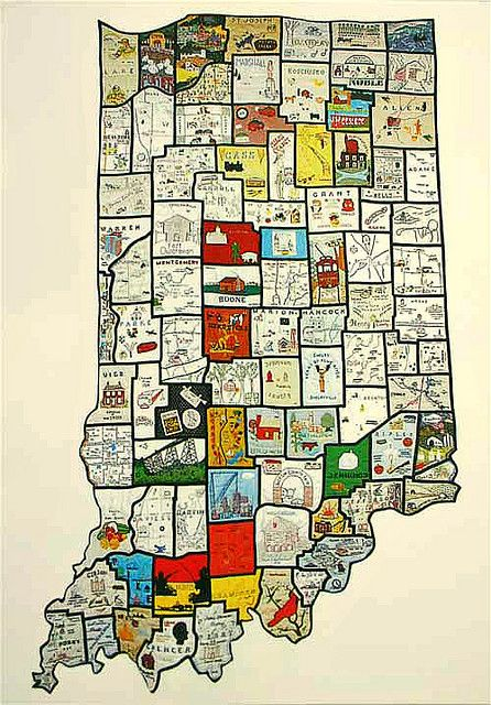 Indiana On Map Of Us.Qilted Map Of Indiana From Elisa H Us Map Quilts Cartographic