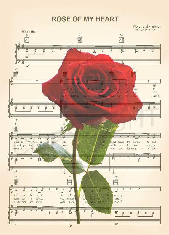 Impresión Del Arte De Música De La Hoja De Rosa Roja Arte Partituras Partituras De Disney Cubiertas De Carpeta De Escuela