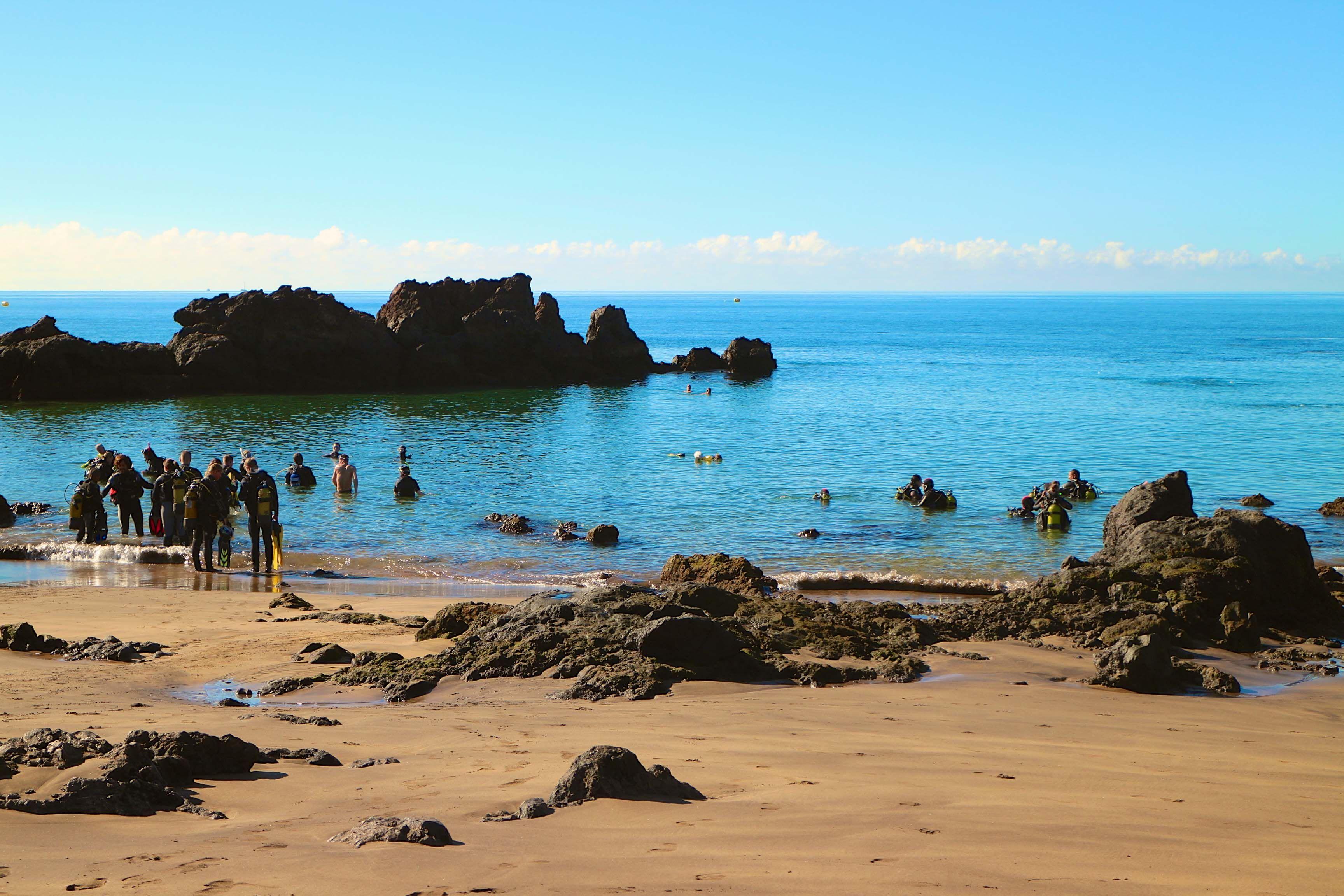 Einstieg Für Taucher Am Strand Playa Chica Puerto Del Carmen Lanzarote Kanaren Lanzarote Lanzarote Strände Kanaren