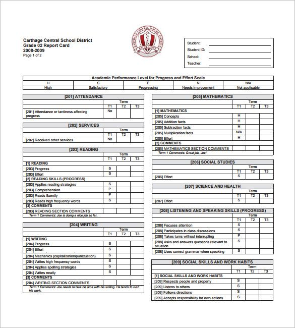 progress report card sampleg sample template free documents pdf - sample progress report