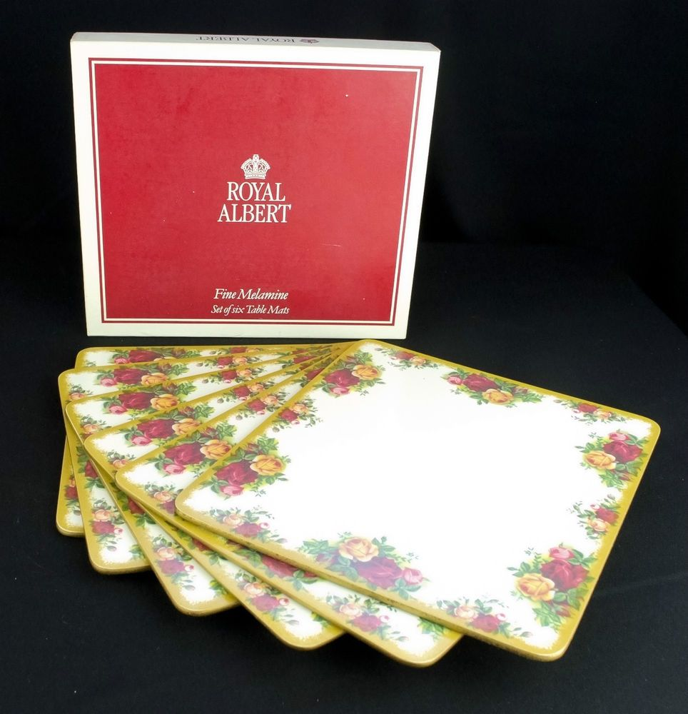 6 Royal Albert Old Country Roses Melamine Table Mats Boxed