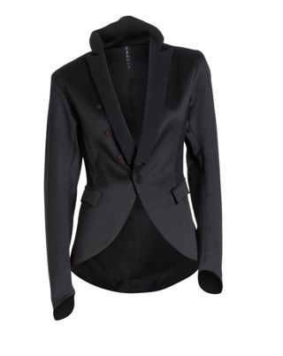 ::a well fitted black blazer is a wardrobe essential. Make sure you get one that is fitted correctly and it will be the most flattering staple piece in your closet. It can easily be dressed up or down::