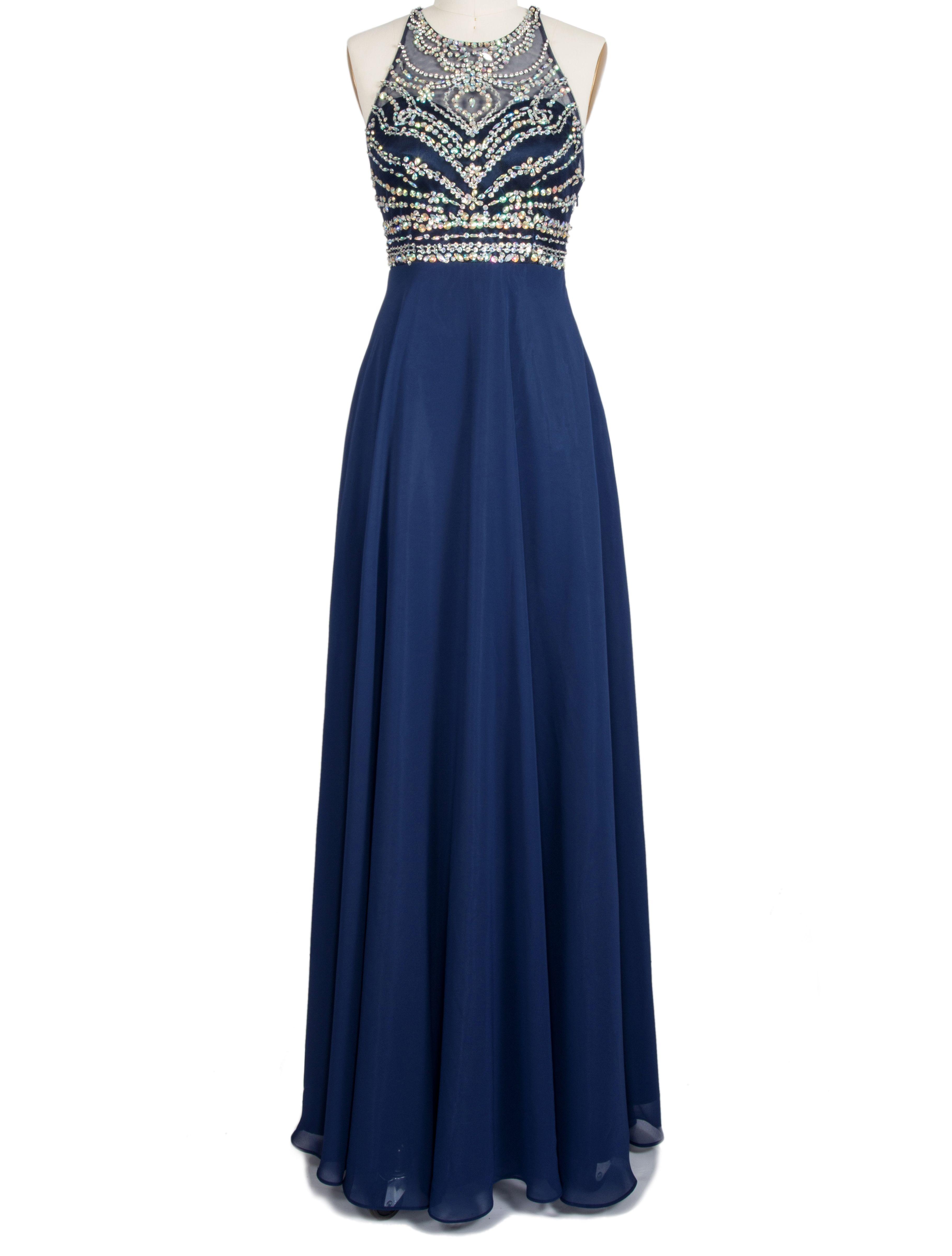 Womenus prom evening dress high neck beading chiffon party ball