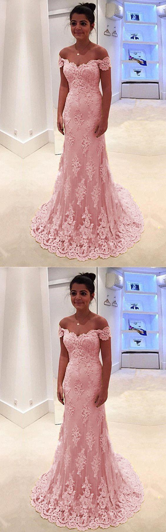Baby pink lace prom dresses mermaid vneck offtheshoulder evening