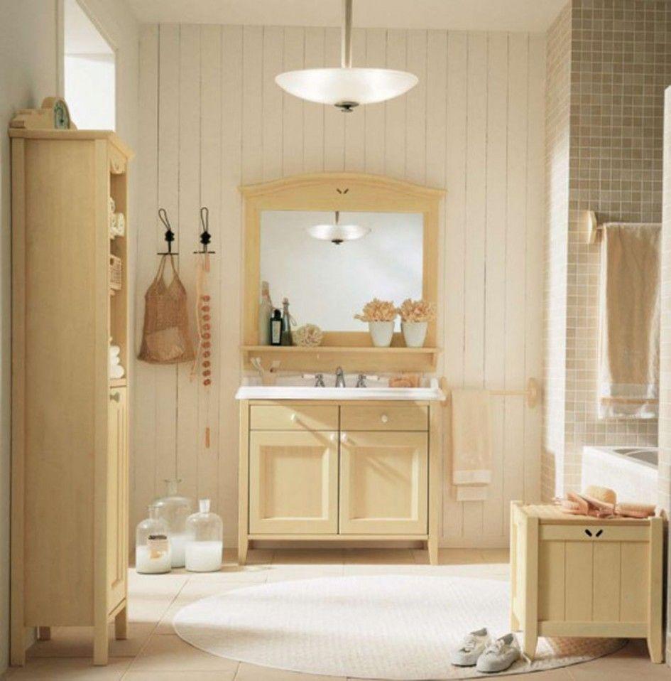 bathroom oak bathroom furniture set round white rug white beadboard wall wooden towel bar round glass