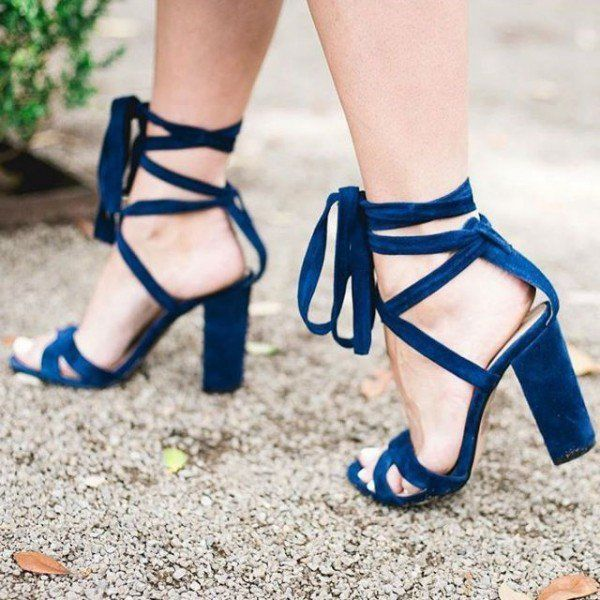 feb8fc340b Navy Strappy Sandals Chunky Heel Lace up Velvet Heels for Women for Party,  Night club, Ball, Anniversary | FSJ