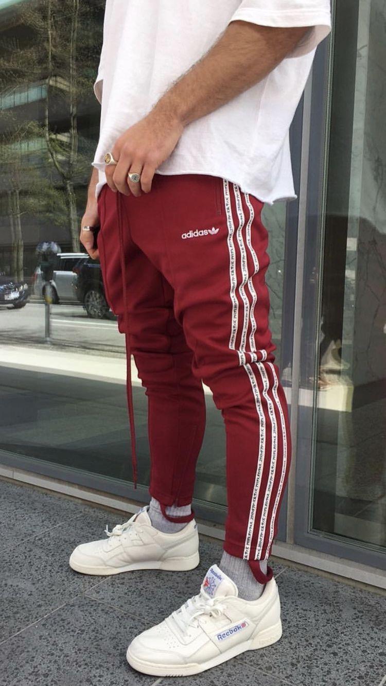 adidas jeans maroon white black dress pants suit Line Up