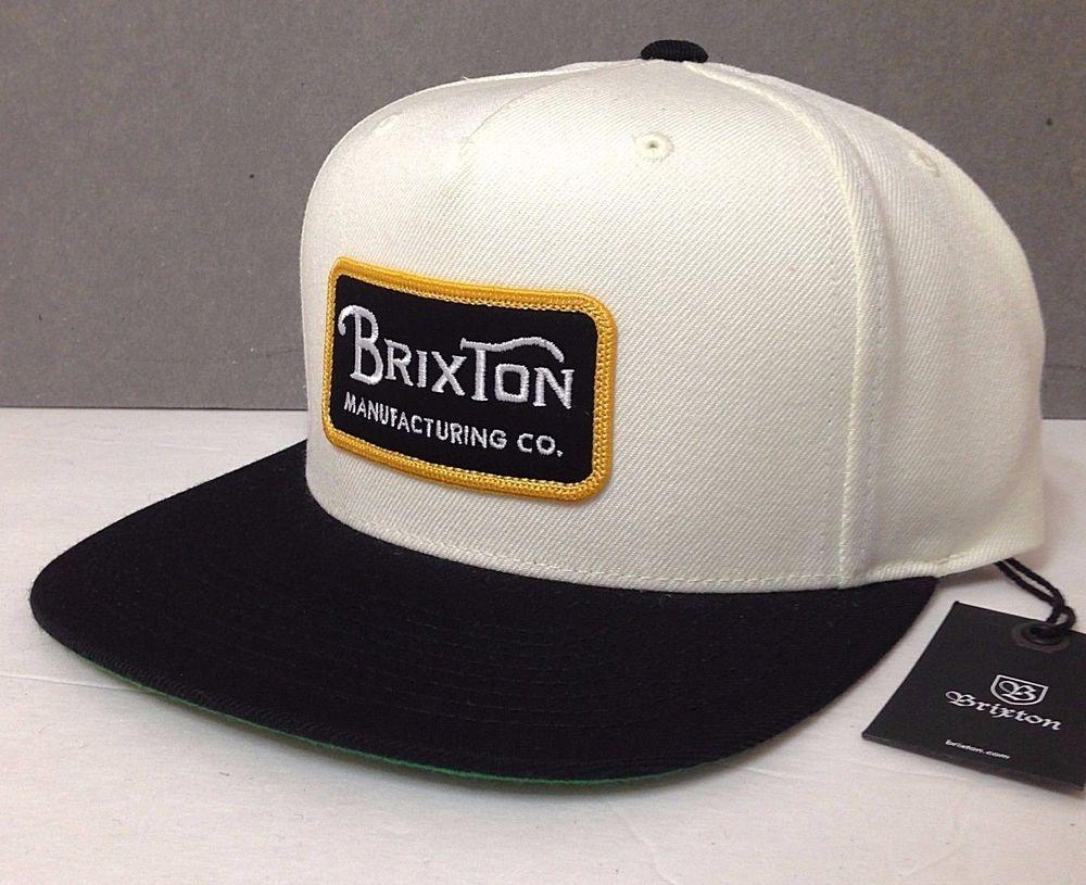 c8e3bc882b9 New$28 BRIXTON SNAPBACK HAT Off-White Black Gold Patch Flat-Bill Men/Women  NWT #Brixton #BaseballCap