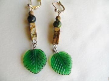 Leaf earrings, Dangle earrings, Earthy earrings, handmade earrings by JosiannesJewelry for $10.00