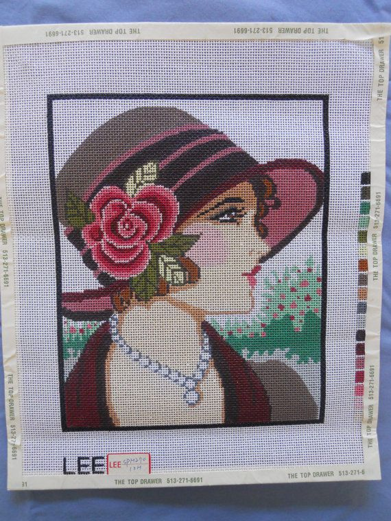 Lady in Purple Dress /& Flower Art HP Design Needlepoint Canvas E#14