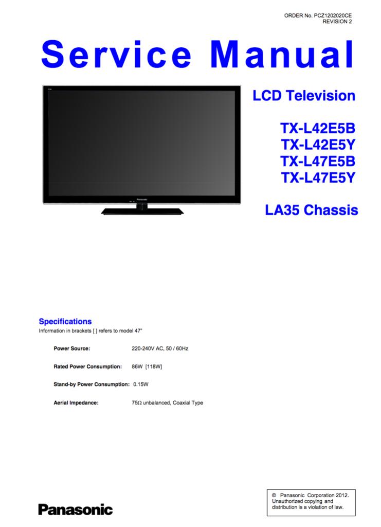 Panasonic Service Manual Txl42e5b Txl42e5y Txl47e5b Txl47e5y Panasonic Manual Lcd Television