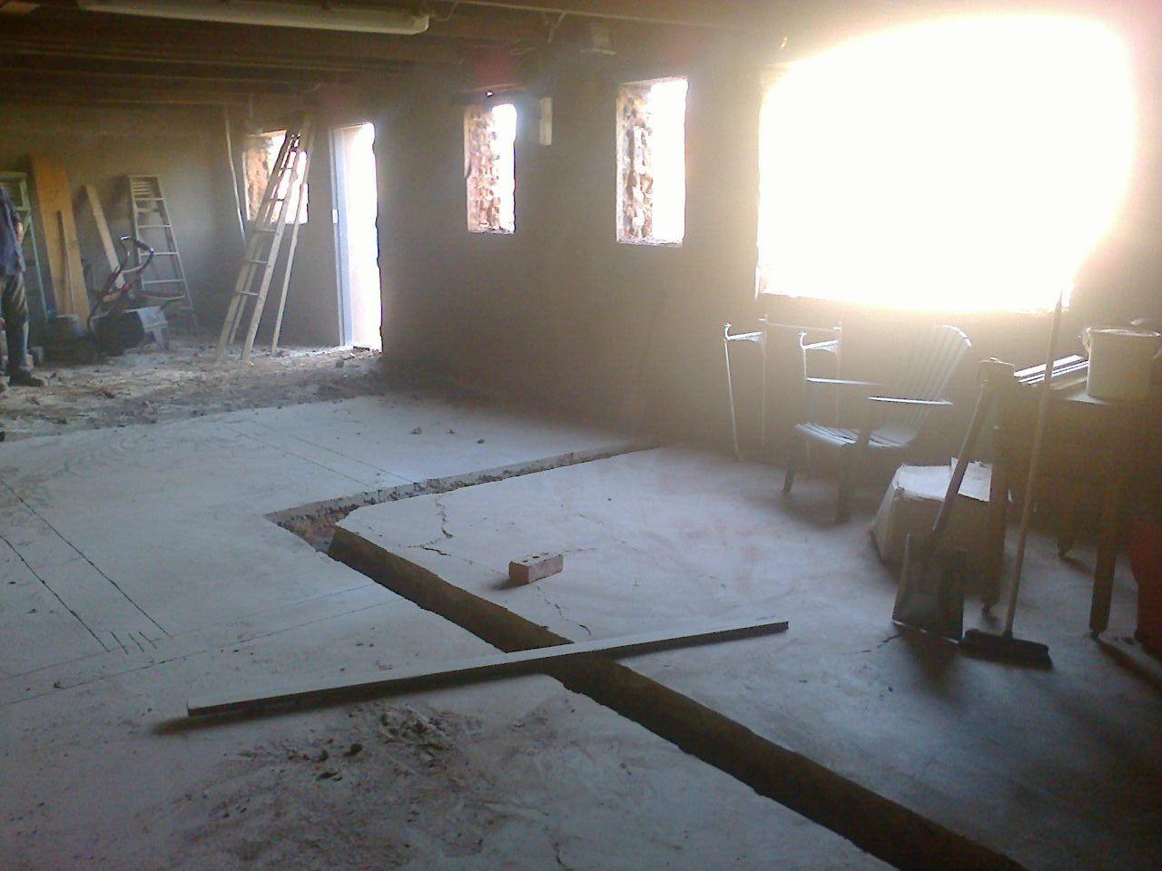 Windows cut out; foundations dug