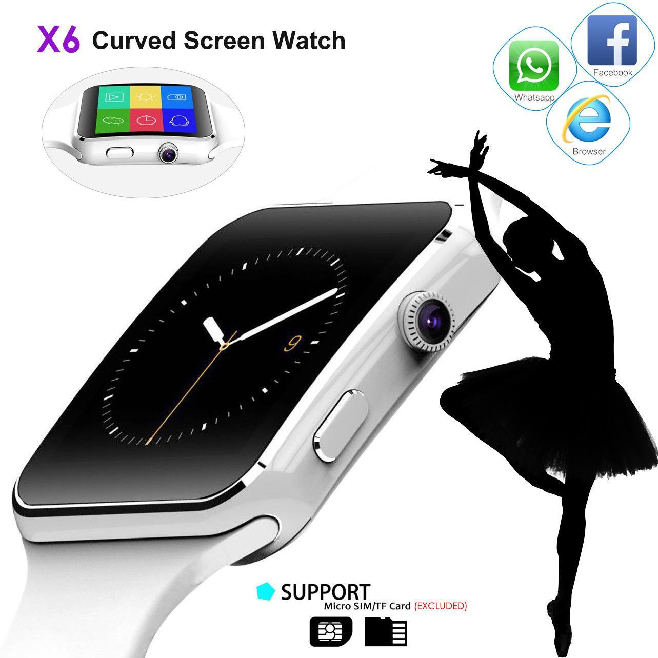 Bakeey X6 Curved HD Camera SIM Card Call Sleep Monitor
