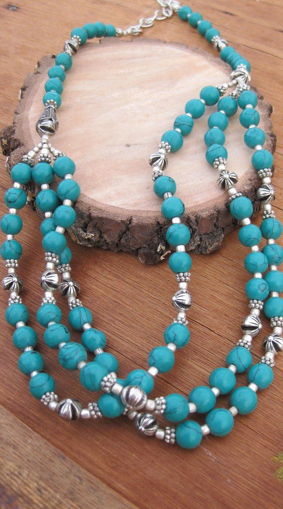 Vintage Handmade Turquoise Beaded Multi Strand Necklace  // Animal Rescue // Sterling Silver // 22 Inches #animalrescue