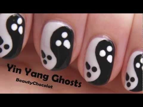 Yin Yang Ghosts Halloween Nail Art Halloween Nail Nails