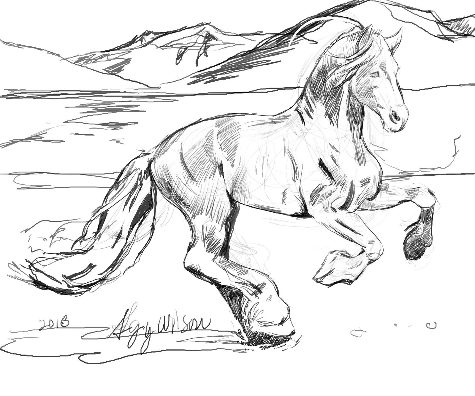 Top Page Horses Head Coloring Two Running - Coloring Pages ...