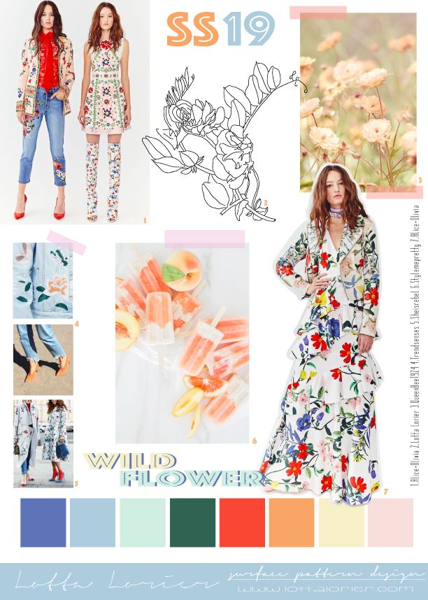 WILD FLOWER TREND BOARD SS19 WOMENSWEAR | Trends | Fashion ...