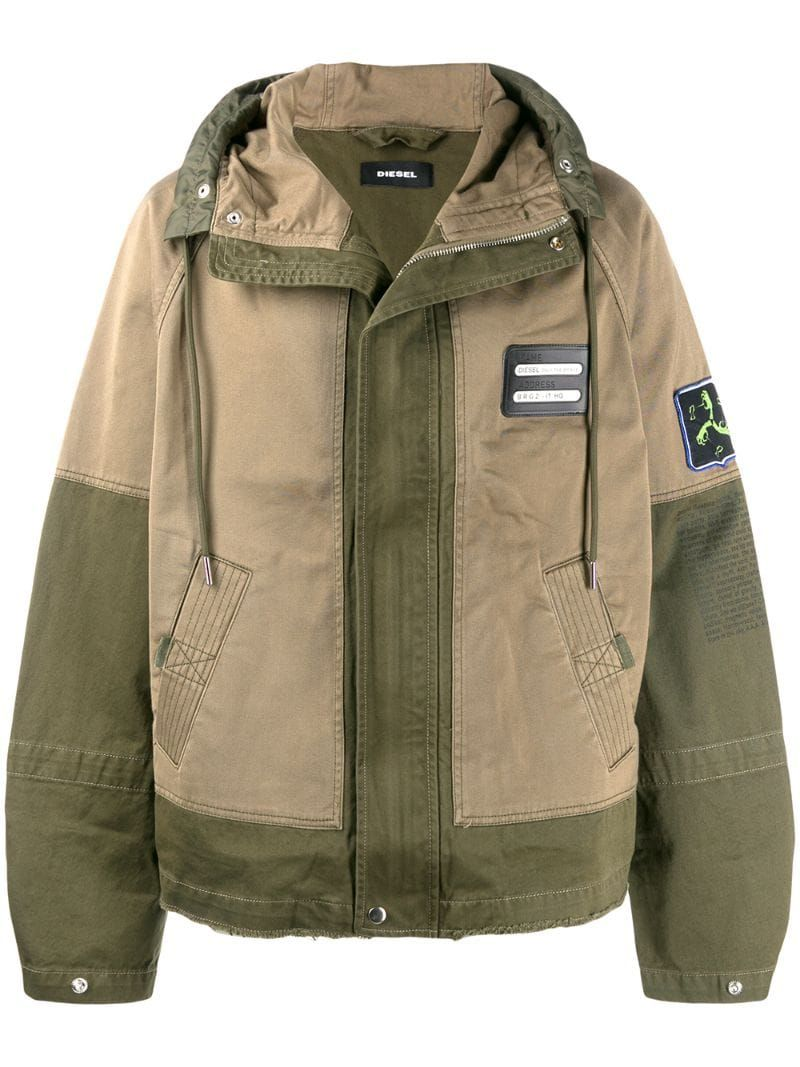 Diesel Mixed Fabric Parka Farfetch Mixing Fabrics Casual Outerwear Diesel Jacket [ 1067 x 800 Pixel ]
