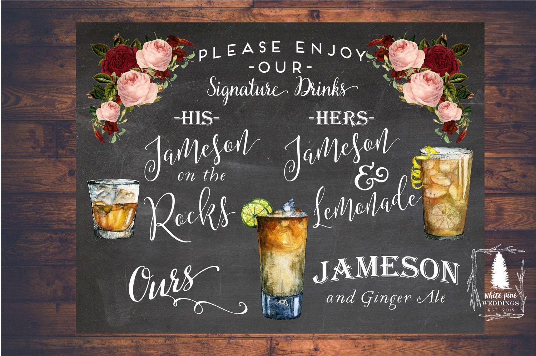 Wedding Signature Drinks sign, Printable Drink Sign