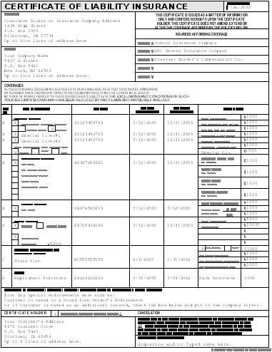 Certificate Of Liability Insurance Template (5