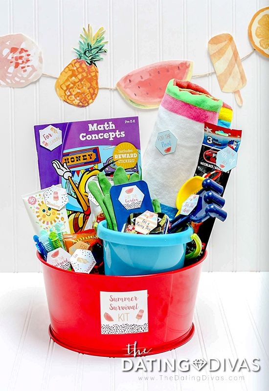 SUMMER SURVIVAL KIT- Summer Boredom Gift Basket Idea!  Fun for kids or as a last day of school surprise.