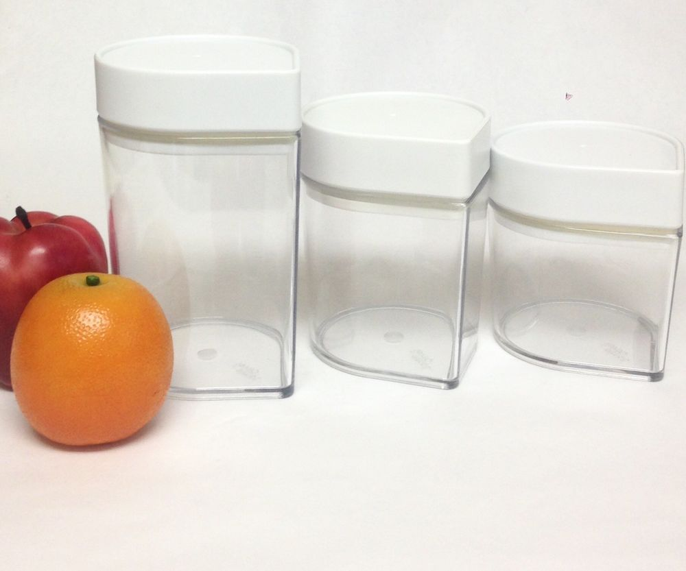 Jamie Oliver Teardrop Clear Acrylic Canister Set Of 3 Air Food Containers Ebay
