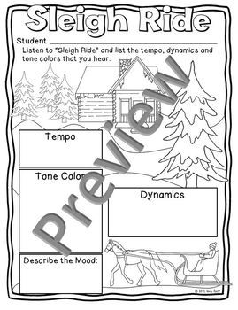 sleigh ride music listening and mood activity sheetworksheetcoloring sheet
