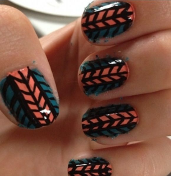 Double Herringbone Nail Art Nails Pinterest Herringbone