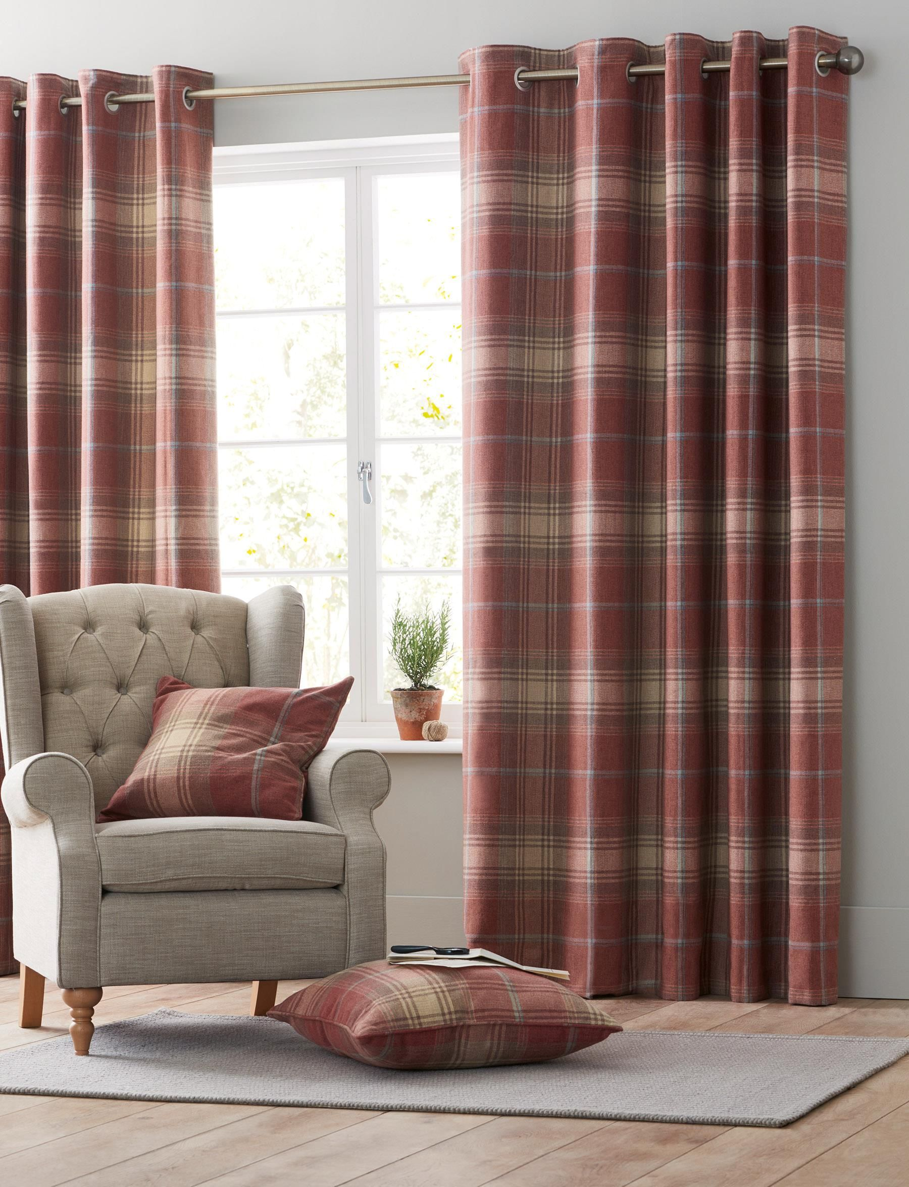 Buy Thermal Red Woven Check Stirling Eyelet Curtains from the Next UK online shop