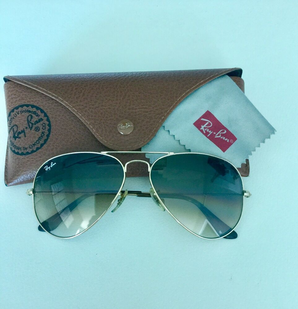 38c61014bbd02 Ray Ban Aviator RB3025 58-14 Sunglasses Light Brown Gradient Lens Gold  Frame  fashion