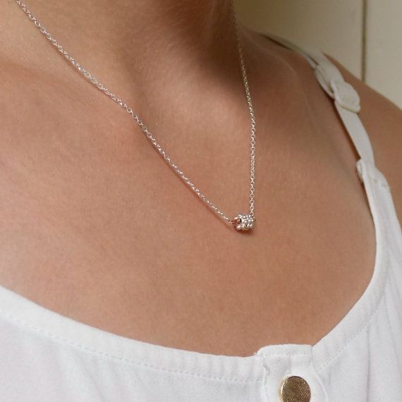 Delicate Daisy Silver Necklace  Minimalist Necklace by DiGiJewels, $21.00