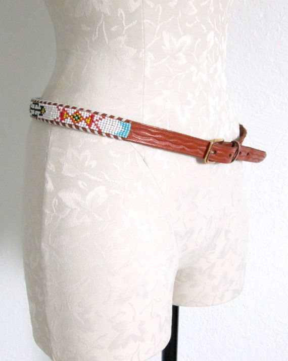 cbfdcf4a4feb9b Thunderbird Design Vintage Beaded Southwestern Indian Style Distressed  Leather Belt VintageHag.com