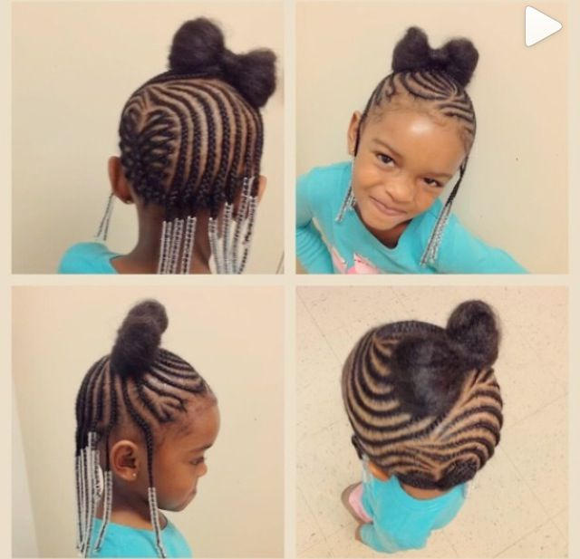 Children\'s heart design cornrow with a bow | Heart/Star Braids ...