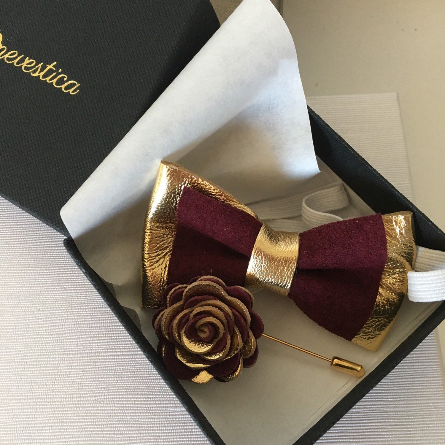 tie ribbon wedding invitation%0A Toddler gold and burgundy bow tie and boutonni  re set