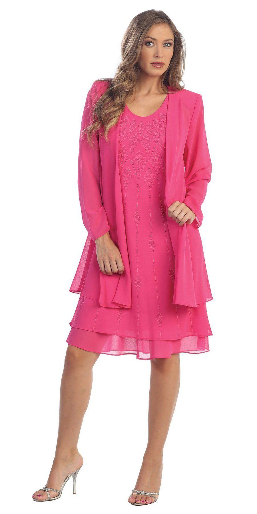 Flowy Chiffon Fuchsia Dress Knee Length Long Sleeve Cardigan ...