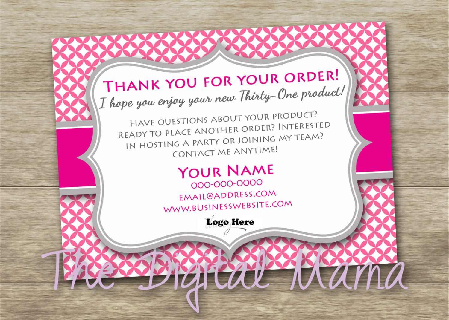thirty-one customer thank you postcard - thirty-one order postcard