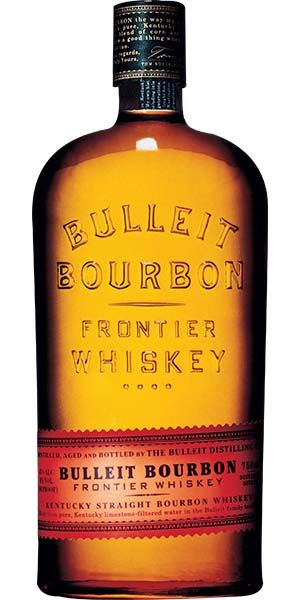 Bulleit Bourbon is medium amber in color, with gentle spiciness and sweet oak aromas. Mid-palate is smooth with tones of maple, oak, and nutmeg. Finish is long, dry, and satiny with a light toffee flavor. – Distiller's notes
