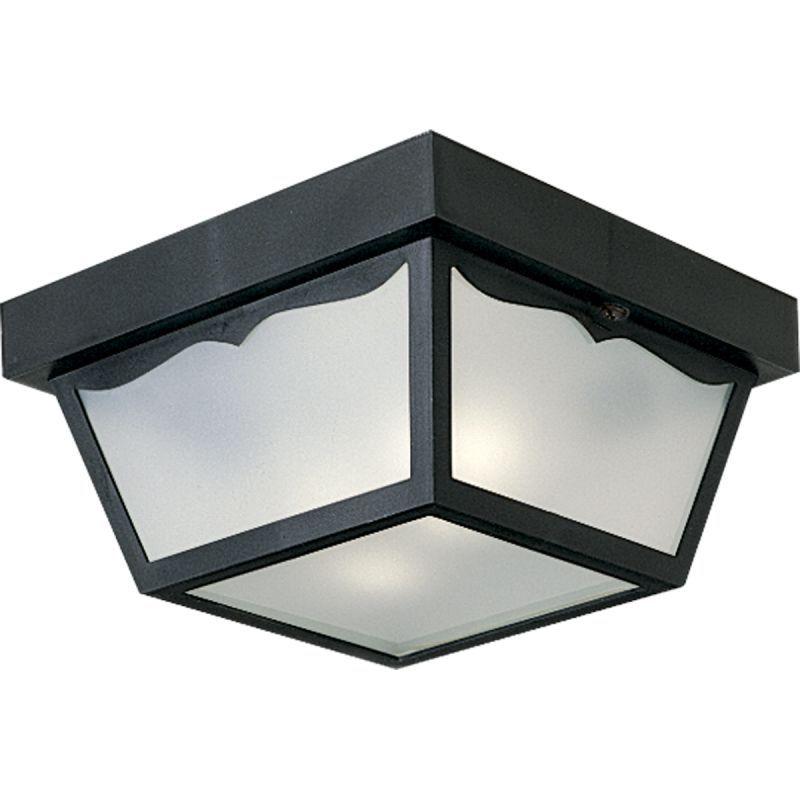 """Progress Lighting P5745 2 Light Flush Mount Outdoor Ceiling Fixture - 10"""" Wide Black Outdoor Lighting Ceiling Fixtures Flush Mount"""