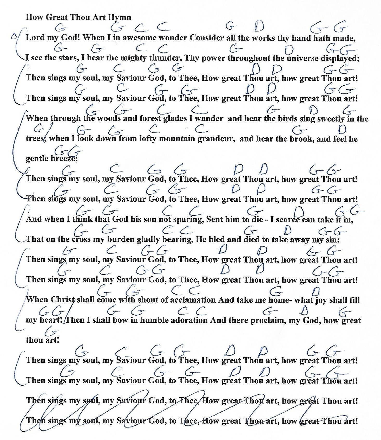 How Great Thou Art Hymn G Major Guitar Chord Chart With Lyrics