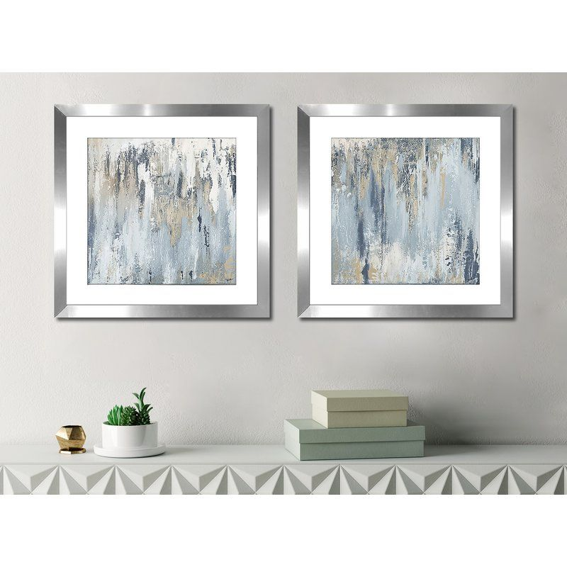 Blue Illusion Square I 2 Piece Framed Acrylic Painting Print Set Family Wall Decor Painting Frames Art Deco Home