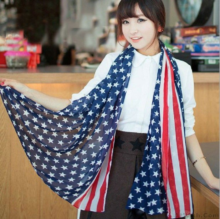 Wow~ Awesome New Unique American Flag  Voile Infinity Scarf ! It only $17.99 at www.AtWish.com! I like it so much<3<3!