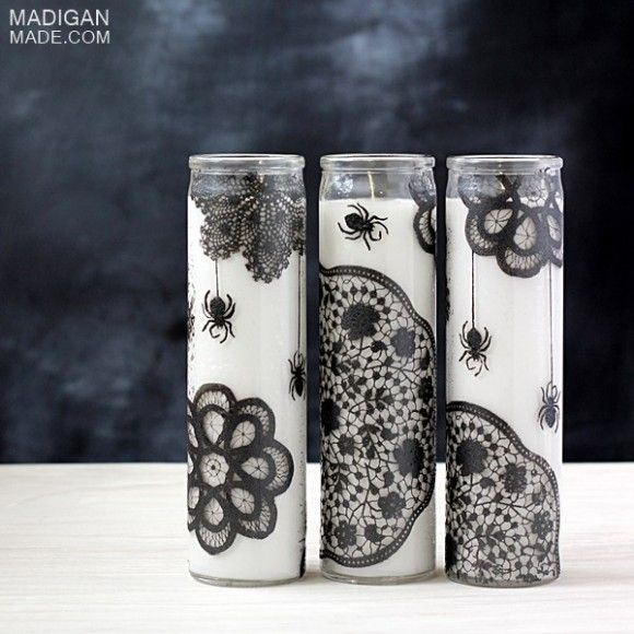 Make Doily Spiderweb Candles I would also make these candles WITHOUT - decorations to make for halloween